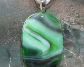 Fused Glass Pendant and ribbon necklace: Hidden In The Jungle