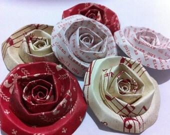 Scrapbook Flowers...6 Piece Set of Very Elegant Romantic Red Nostalgic Essentials Scrapbook Paper Flower Rolled Roses