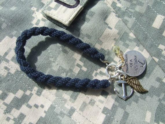 Navy Blue BOOT BAND Blouser Bracelet -Proud Mom of a US Sailor SGT68