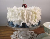 White and Blue Blueberry Faux Flower Petal Cake With a Cherry on Top