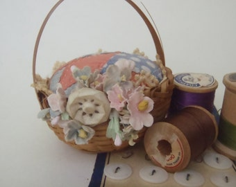 Mini Vintage Quilt Pin Cushion Upcycled with Wicker Basket Vintage Button and Fabric Flowers
