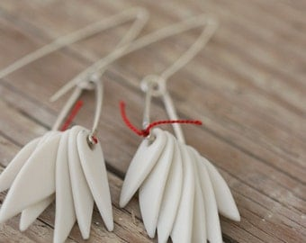 White Leaf Earrings - Porcelain and Sterling Silver
