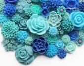 25pc blue and aqua tones flower cabochon mix, a lot of mixed cab sizes and styles to make earrings, rings, and hairpins