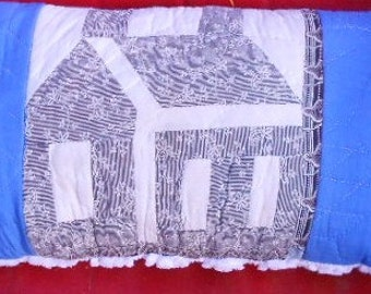 VINTAGE QUILT PILLOW, School House, C 1900 fabric, Cottage Chic, chenille, hand hade ,shabby chic