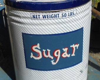 Vintage SUGAR TIN CONTAINER, 50 lb, painted letters, display, storage, collectible, shabby chic, industrial, cottage decor