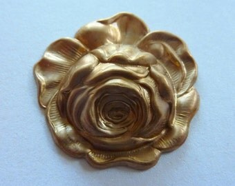 Vintage Brass Cabbage Rose Stamping 39mm (1)