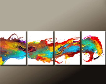 """CUSTOM Made to Order 4pc Abstract Canvas Art Painting 72"""" Original Contemporary Modern Wall Art Paintings by Destiny Womack - dWo -"""