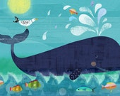 Whale Pals 11x14 giclee print - children's art poster - nursery decor