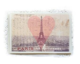 """Valentine's Day Card, Paris Lovers Valentine""""s Card, Paris Pink Heart, Paris is For Lovers, Paris Tower Heart"""