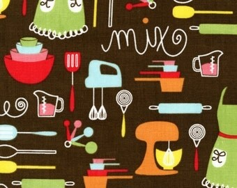 """Rare KITCHEN ITEMS Brown """"Everything Nice"""" Novelty Kitchens Cotton Quilt Fabric - by the Precut Half Yard"""