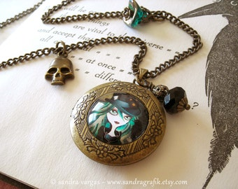 OOAK Raven's Moon Bronze Locket Pendant Necklace - Original Necklace Handcrafted by Sandra Vargas