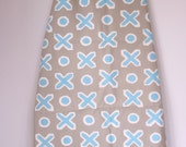 Vintage David Hicks fabric  graphic grey and turquoise