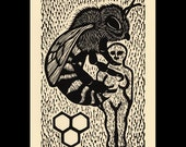 Bee woodcut limited edition Arcanum Bestiarum bestiary print