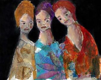 Digital Print. Figure Painting. Three Sisters Girls. Whimsical Print. Flowery Wall Art. Woman's Wall Hanging