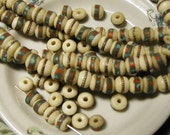 Cream Yak Bone Prayer Beads Turquoise Coral Metal Inlay  - 10 pcs. - YK1227
