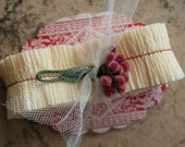 Raspberry Truffle Tiny Crepe Paper Ruffles - Cream Ruffled Crepe Paper Trim - Valenitne Making Supplies - Handmade Crepe Paper Ruffles