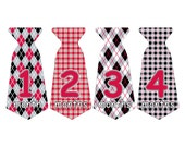 12 Pre-cut Monthly Baby Milestone Waterproof Glossy Stickers - Neck Tie Shape - Design T006-03