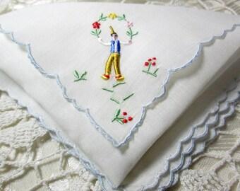 Vintage Madeira  Handkerchief Hanky Embroidered Peasants