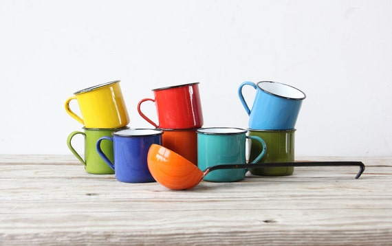 Collection of Enamel Mugs & Ladle