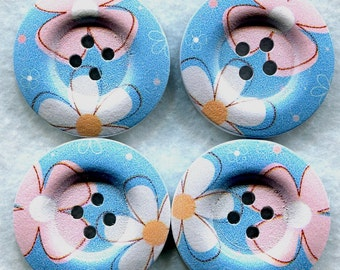 Blue Flowers Buttons Decorated Wooden Buttons  30mm (1 1/4 inch) Set of 4 /BT107