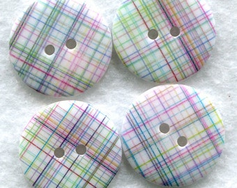 Pastel Plaid Acrylic Buttons 18mm (3/4 inch) Set of 4 /BT138