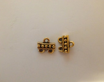 Gold Plated Antiqued 2 strand Clasp & Hook Connector Brand New Jewelry Supplies.