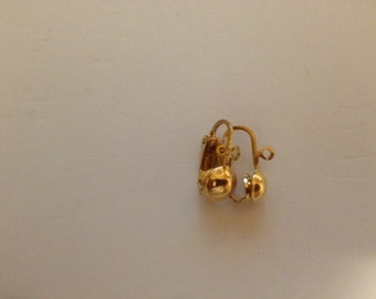 Gold Plated Earclip- with Half Bead and Ring Jewelry Supplies Earrings