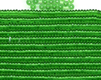 Vintage Green Beads 4mm Translucent Emerald Glass Rondelle Spacers 100 Pcs.