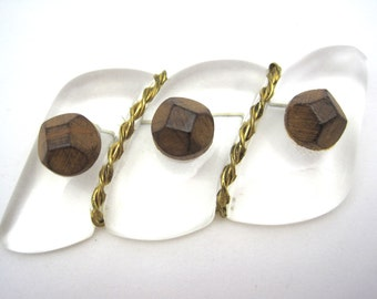 Vintage Lucite Brooch - Wood Cabochons