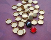 Small 5mm Brass Low Wall Closed Back Bezel Settings  for Flat Back Cabs or Stones (24 pieces)
