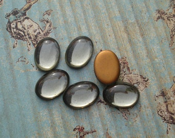 Vintage 14x10mm Black Diamond Gold Foiled Flat Back Smooth Top Oval Glass Cabs (6 pieces)