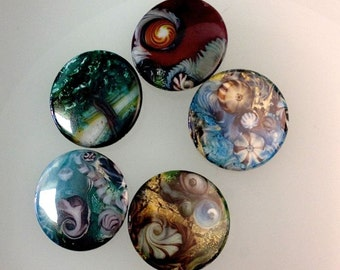 Five Buttons With Kate Drew-Wilkinson's Lampwork Bead Images.