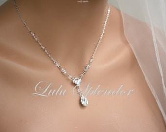 Wedding Necklace Crystal Pendant Chain Rhinestone Drop Bridal Necklace Simple Wedding Jewelry JANE CRYSTAL