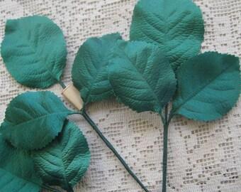 Vintage Millinery Leaves 1950s Germany Mermaid Green 9 Satin Leaves  VL 020 G