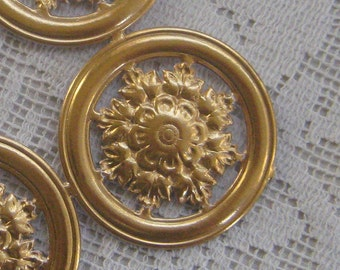 Dresden Trim Antique Gold Medallions Halos Paper Foil Germany 4 Die Cuts Christmas