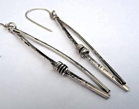 norwegian woods long silver dangle earrings original design