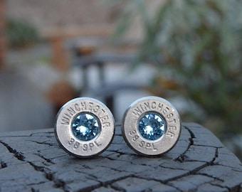 Bullet Earrings stud earrings or post earrings, Winchester .38 special silver earrings Winchester earrings with Swarovski crystals