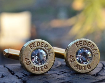 Bullet Shell Cufflinks, brass/gold Federal .45 Auto Handcrafted Repurposed Bullet Shell Cufflinks with Swarovski crystals