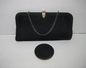 Vintage Black Hand Bag With Chain Handle and Lin Bren Compact