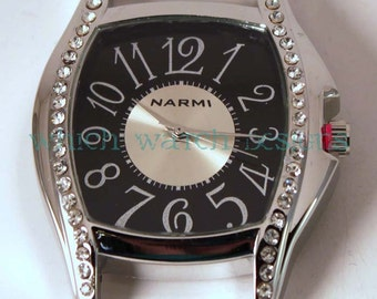 Large Whimsy Bling.. Solid-Bar, Ribbon, Interchangeable, Silver Plated Watch Face, Rhinestones