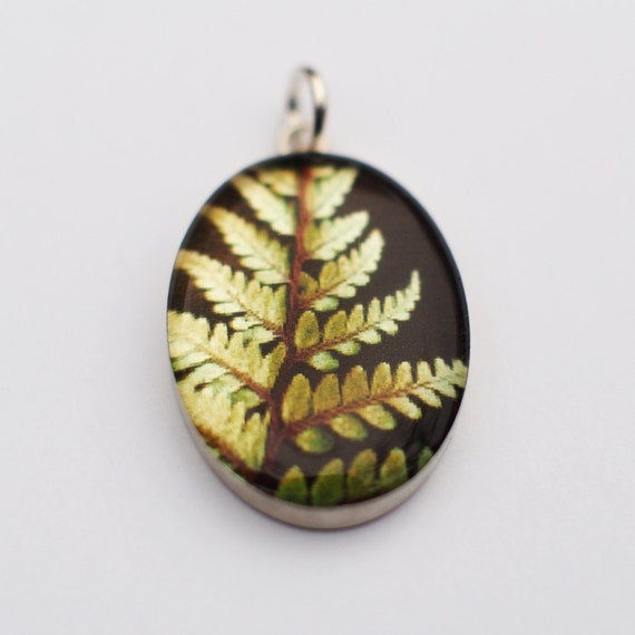 Luxuriant Moss Green Fern in Oval Pendant - Sterling Silver and Resin with Fine Art Transfer