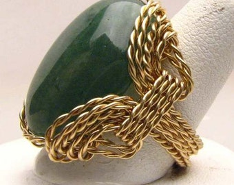 Handmade 14kt Gold Filled Wire Wrap Green Adventure Agate Ring