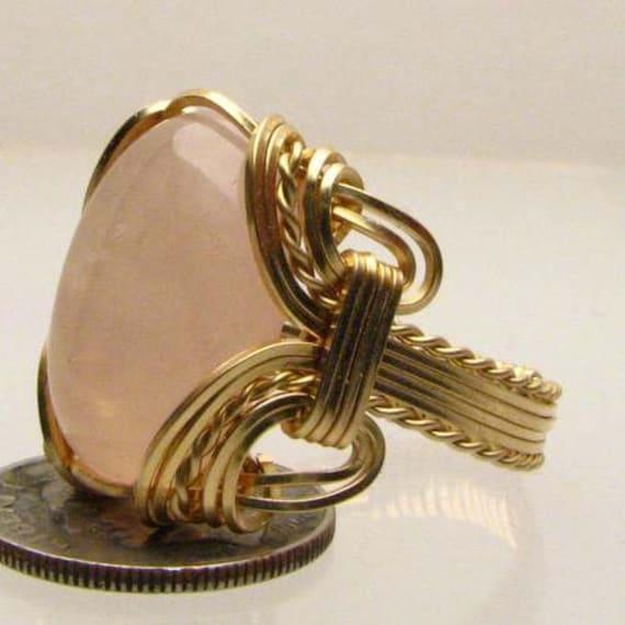 Handmade Artisan 14kt Gold Filled Wire Wrap Rose Quartz Gemstone Ring