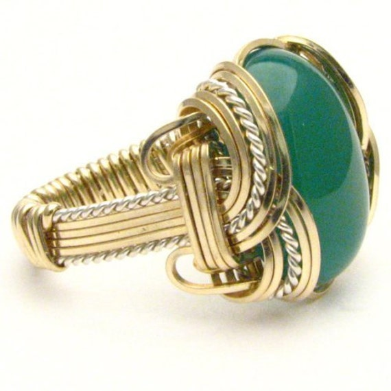 Handmade Wire Wrap Two Tone Sterling Silver/14kt Gold Filled Green Onyx Cabochon Ring