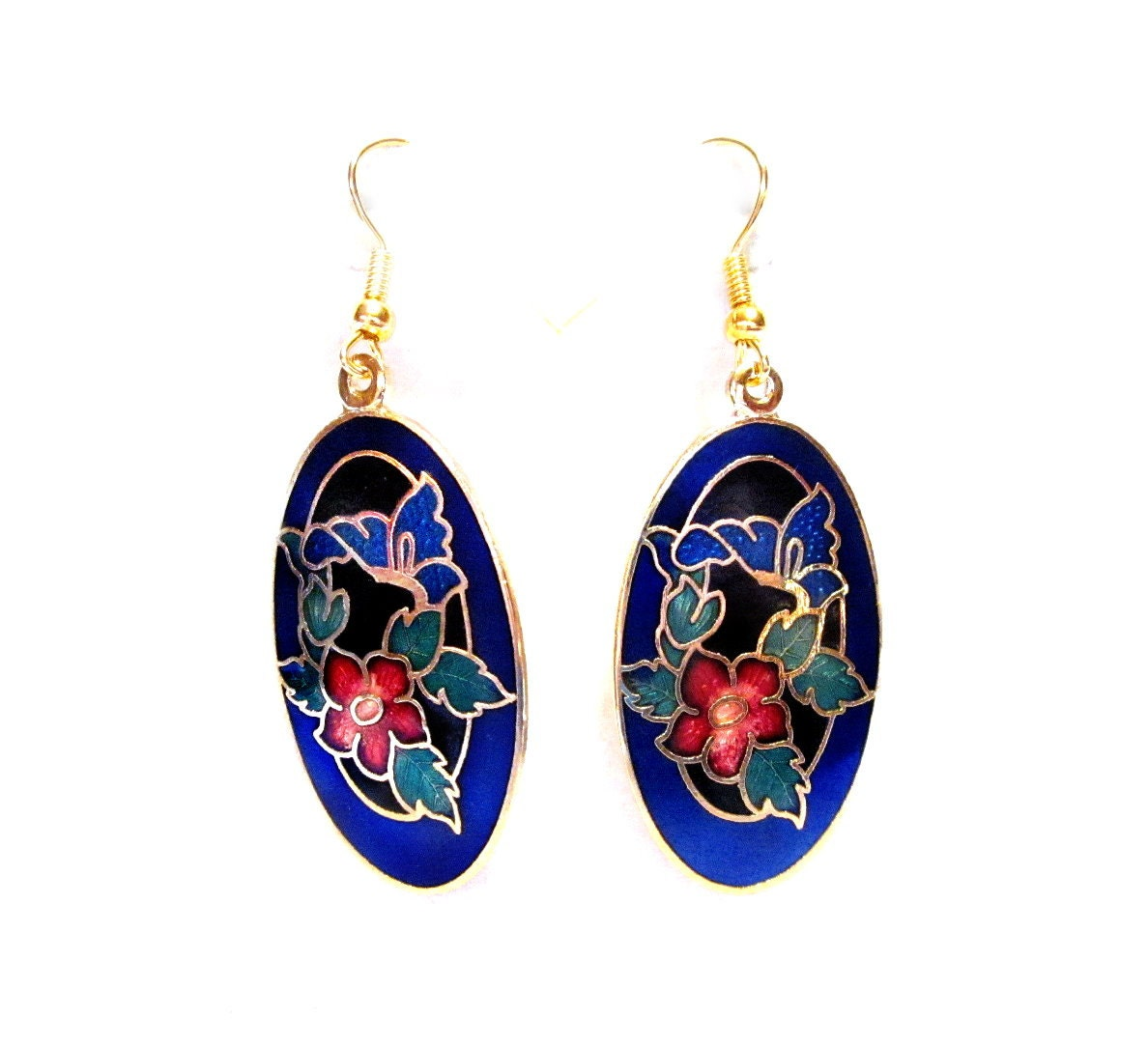 enamel cloisonne pierced earrings