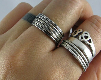 Sterling Stacking Rings - Set of 5 hammered