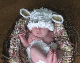 Baby hat diaper cover set lamb SET photography props Ready to ship boy girl unigender