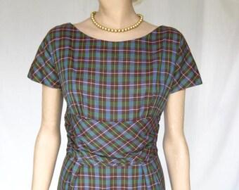 Vintage 50s Plaid  Mad Men  DRESS