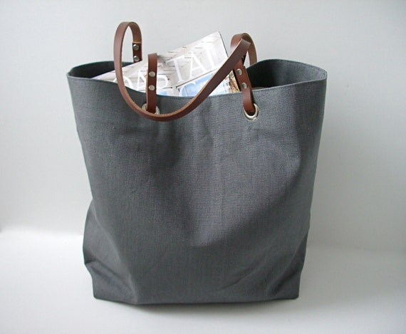 Simple Gray Tote Bag Grey Tote Bag Linen Tote Bag Beach Bag