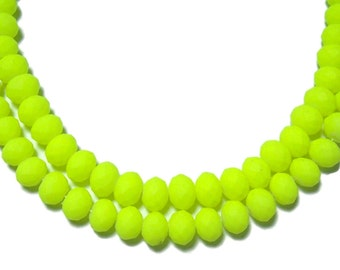 4x6mm Neon Bright Yellow faceted rubberized rondelle beads 50pcs